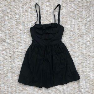 Girly black ruffle front cotton dress size XS 0 2